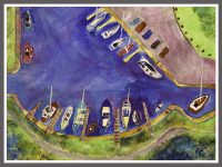 Boats in the basin 28x37cms