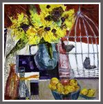 Golden Crabapples and Autumn Sunflowers 42x46 cms